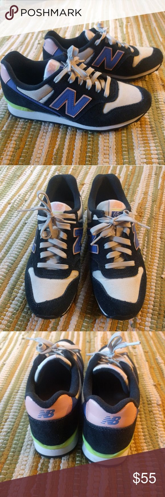 New Balance 696 sz 7 Nearly new New Balance classic sneaks. Cobalt blue, pink, and neon yellow. Navy blue suede and ivory canvas. New Balance Shoes Sneakers
