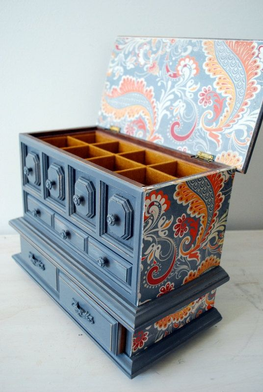 Upcycled Jewelry box from Happy Day Vintage. This one would be good for office supplies, sewing notions, toiletries, organizing crafts or jewelry.