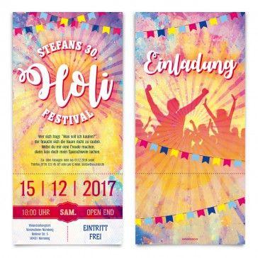 Geburtstag Einladungen Als Holi Festival Eintrittskarten #Holi #Festival # Einladung #Einladungskarten #Geburtstag