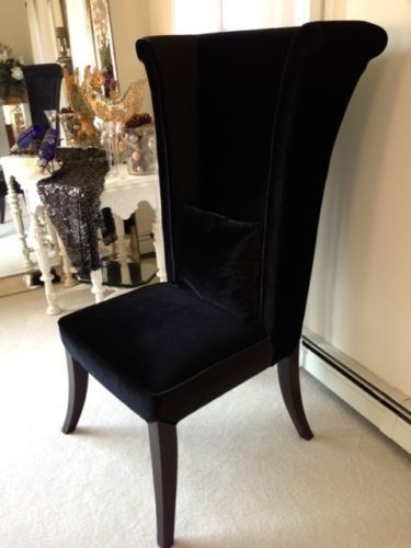 elegant new mad hatter tall wing back black velvet chairs with tall wing chair