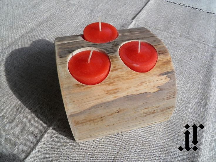 Wooden candle holder for 3 tea light candles