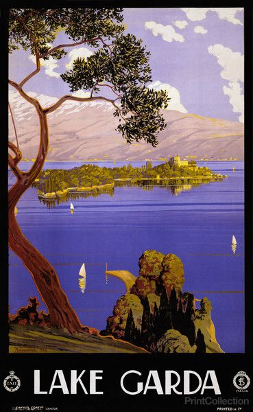Lake Garda travel poster shows view of Lake Garda, Italy with mountains in background. Published by Genova, Barabino e Graeve, in 1924. Color lithograph at 103 x 64 cm. Artist may be Serverino Tremato