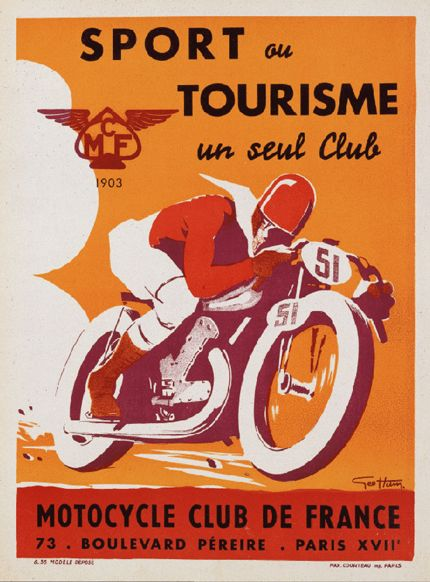 Motocycle Club de France vintage poster