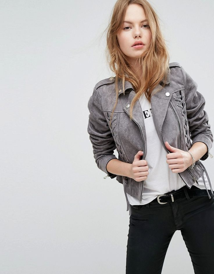 NEW LOOK LACE UP DETAIL SUEDETTE BIKER JACKET - GRAY. #newlook #cloth #