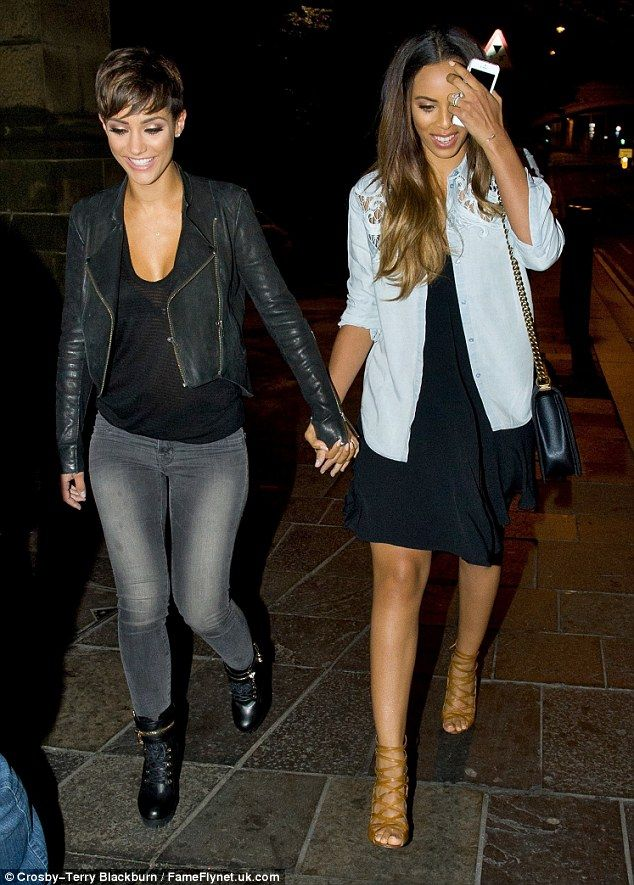 Friends forever: Frankie and Rochelle walked hand in hand on their Newcastle night out on Tuesday