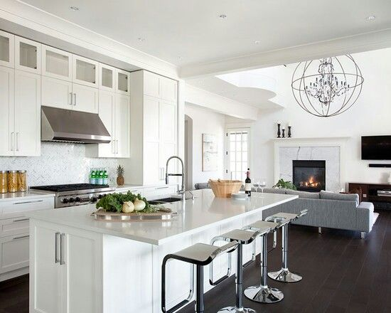 Contemporary White Kitchen Open Living Room Pin And More On