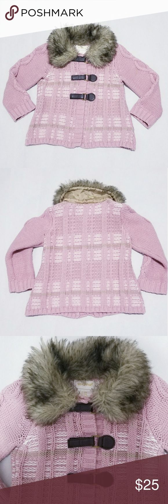 "Savannah Toddler Girl Faux Fur Coat Knit 18 mths Savannah Toddler Baby Girl Faux Fur Coat Knit Crocheted Jacket  Size 18 months toddler faux fur faux leather buckle closure  crocheted knit  just beautiful and gorgeaous  your baby will get lots of compliment   SIZE: 18 months chest approx 22"" sleeve length approx 13"" Length approx 13""  excellent used condition besides faux fur   60% cotton 40% acrylic   COLOR: Pink White Brown    Smoke free and pet free home Savannah Jackets & Coats"