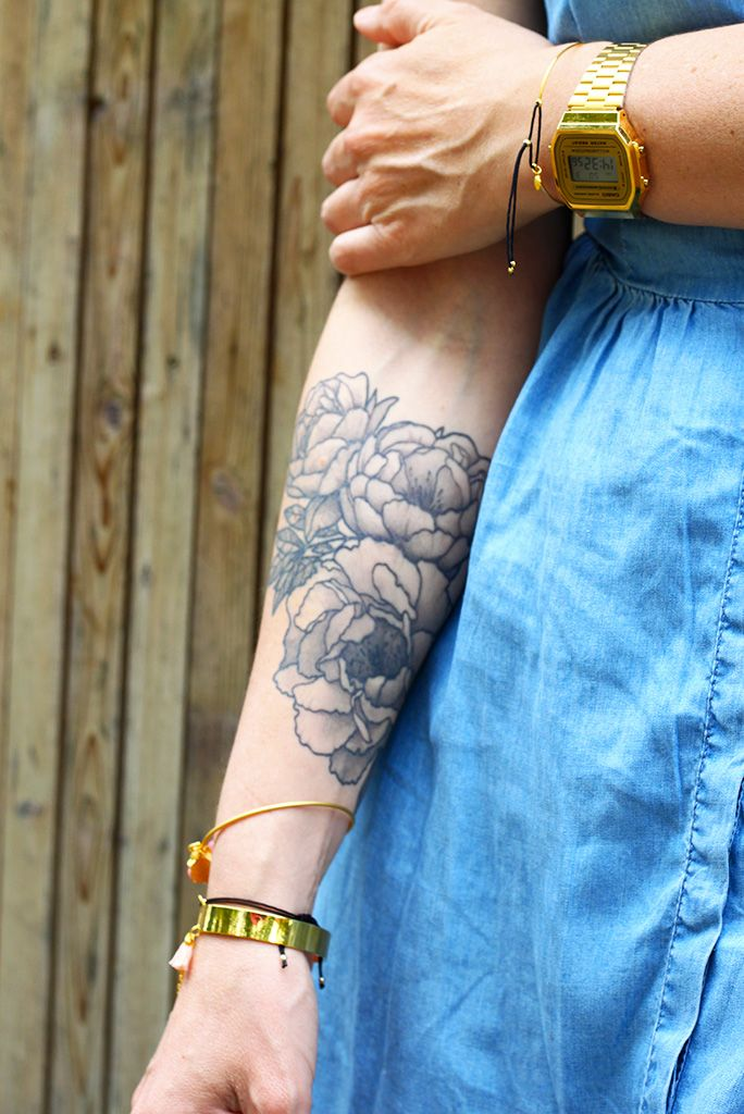 PEONY TATTOO peonies PIVOINE girl tattoo inked