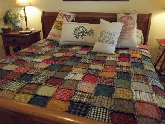Custom Order Your Own Patchwork Rag Quilt - Extra Large Queen - Rustic Country Western Lodge Shabby Chic on Etsy, $395.00
