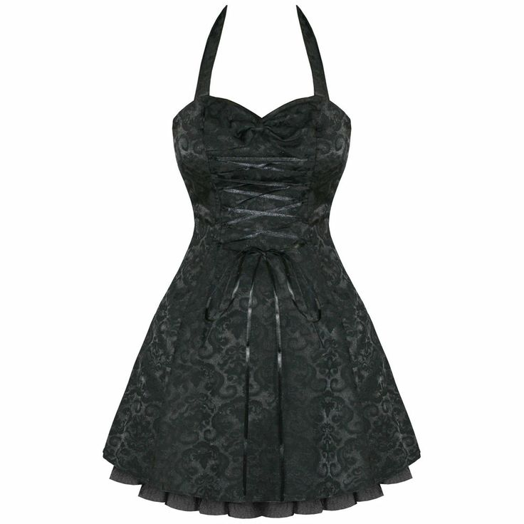 BLACK DAMASK GOTHIC STEAMPUNK EMO PARTY PROM DRESS