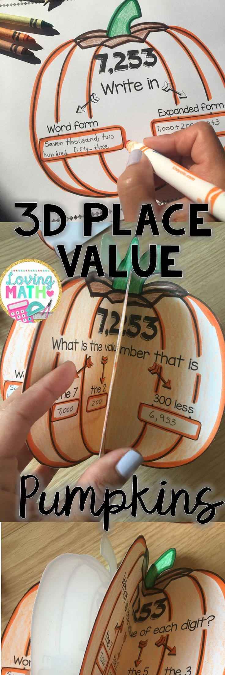 Have fun making these 3D Place Value pumpkins with your students. Includes 3 digit and 4 digit numbers!
