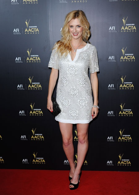 Gracie Otto looking sexy and chic in a Collette Dinnigan Spring Summer 2012 beaded tunic at the ACCTA Awards in Sydney. January 2012