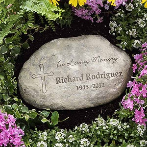 What a beautiful way to remember someone you've lost. The In Loving Memory Personalized Garden Stone can be personalized for just $34.95 at PMall. #Memorial #Garden #Stone