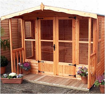 With large opening doors and optional balcony, the Waendel Summerhouse give you plenty of shade to admire your garden from.  Available to order from Adrian Hall Garden Centres, Feltham