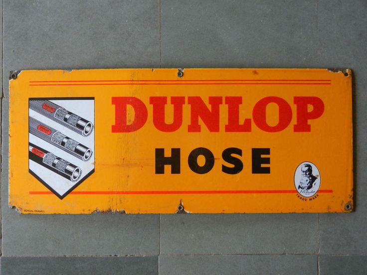 Vintage 'Dunlop Hose' G.B Dunlop Trademark Porcelain Enamel Sign Board ADV EHS