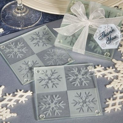 Snowflake glass coasters - perfect winter wedding favors