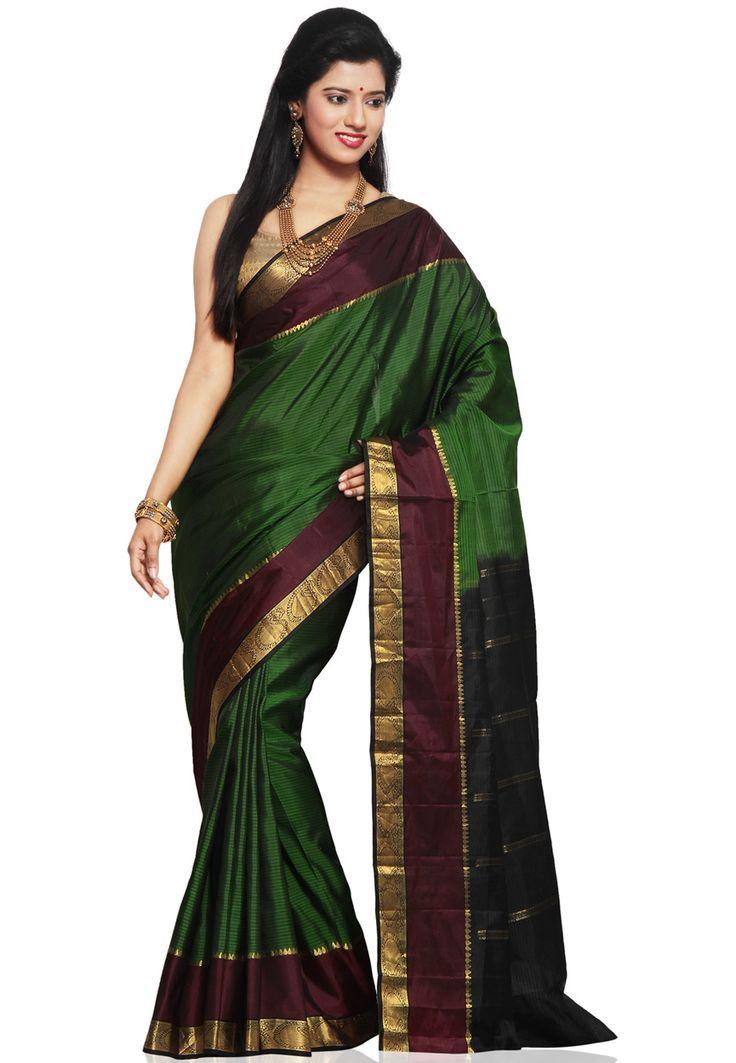 Green Pure Kanchipuram Handloom Silk Saree with Blouse: SJY200 - blouses, white, black, ruffle, wrap, chic blouse *ad