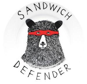 'Sandwich Defender' Side PlateArt Sandwiches, Jimbobart, Dinner Plates, Defender Side, Jimbob Art, Bears Side, Side Plates, Sandwiches Defender, Bears Plates