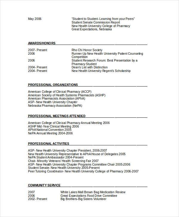 pharmacy resume format word