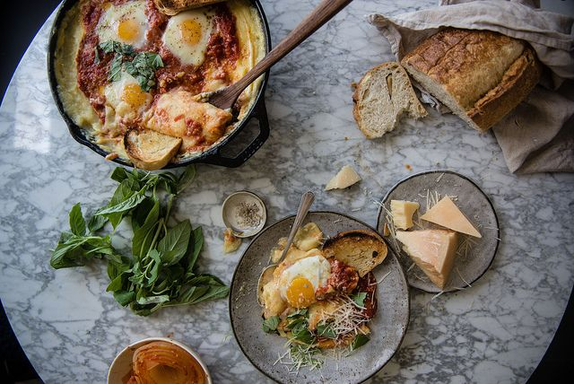 Tomato-Braised Eggs and Creamy Baked Polenta | Two Red Bowls