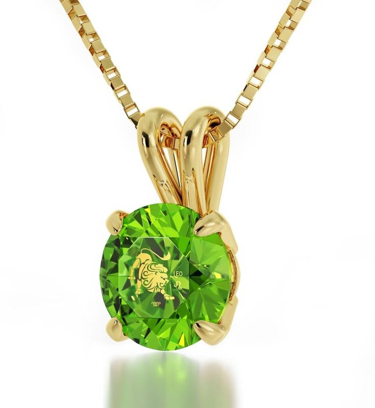 "14k Yellow Gold Zodiac Pendant Leo Necklace Inscribed in 24k Gold on Green Swarovski Crystal, 18"" Gold Filled Chain. Leo necklace intricately inscribed on a light green colored Swarovski, the birthstone color of August, in 24k Gold using innovative technology with the zodiac star sign and symbol. A gold filled, high quality, Italian chain measuring 18 inches, 45cm, elegantly suspends from the brilliant round cut Swarovski stone, 0.3 inches, 8mm. The pendant is 4 prong set in a 14k yellow..."