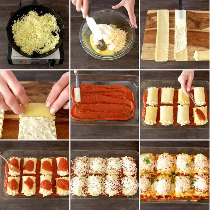 Zucchini Lasagna Roll Ups - this graphic shows all the key steps for making zucchini lasagna roll ups