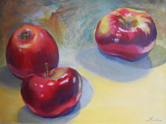 Apples on Yellow  12 x 9 Acrylic Painting by AtelierBaba on Etsy
