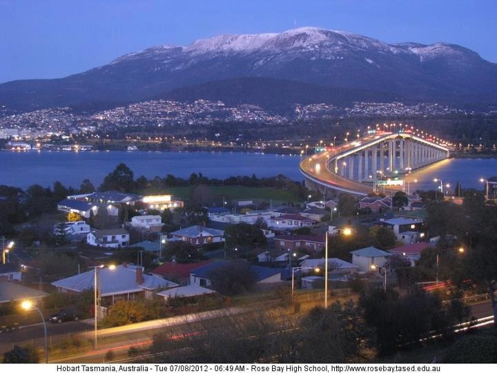 Mount Wellington, Hobart, Tasmania with the Tasman Bridge in the foreground.