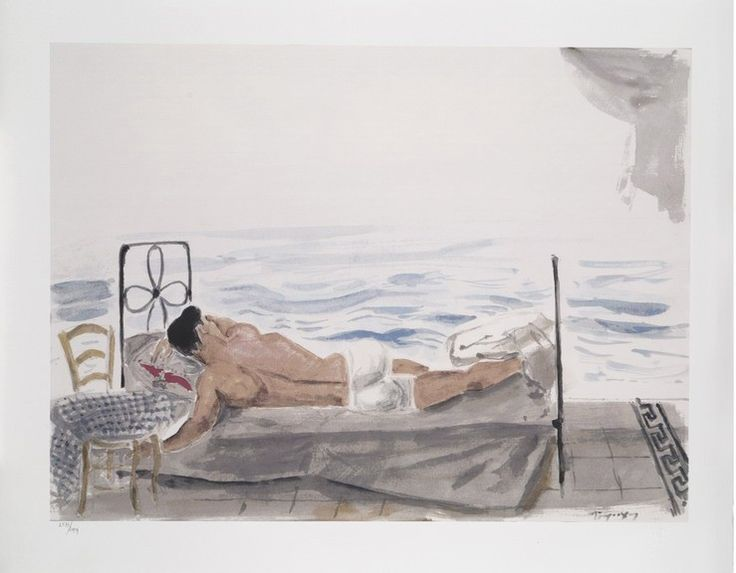 Silk-screen print-Y.Tsarouchis: Youth sleeping by the sea, 1965. © Yannis Tsarouchis Foundation      Numbered print     Dimensions: 50x70 cm