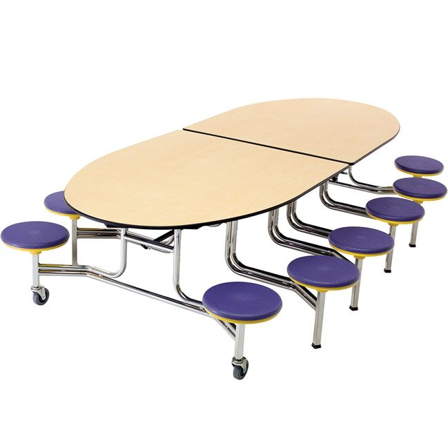 Mobile Stool Table W Elliptical Top Cafeteria Table Restaurant Tables And Chairs Dining Room Chairs Modern