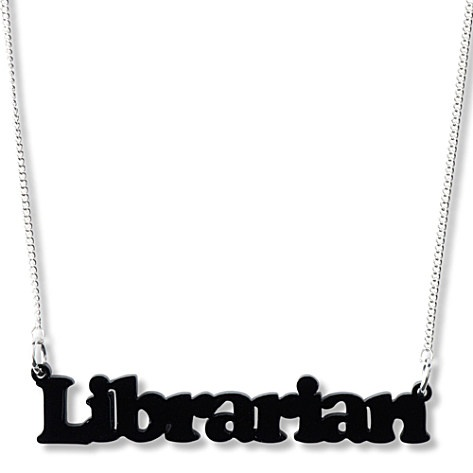 What to get the librarian who has everything (except this).: Libraries, Devin Librarians, Librarians Necklaces, Tatti Devine, Librarians Biz, 2014 Librarians, Devine Librarians, Red Shirts, Librarians Files