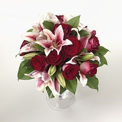 fire and ice roses with stargazer lilies fire and ice roses with ...