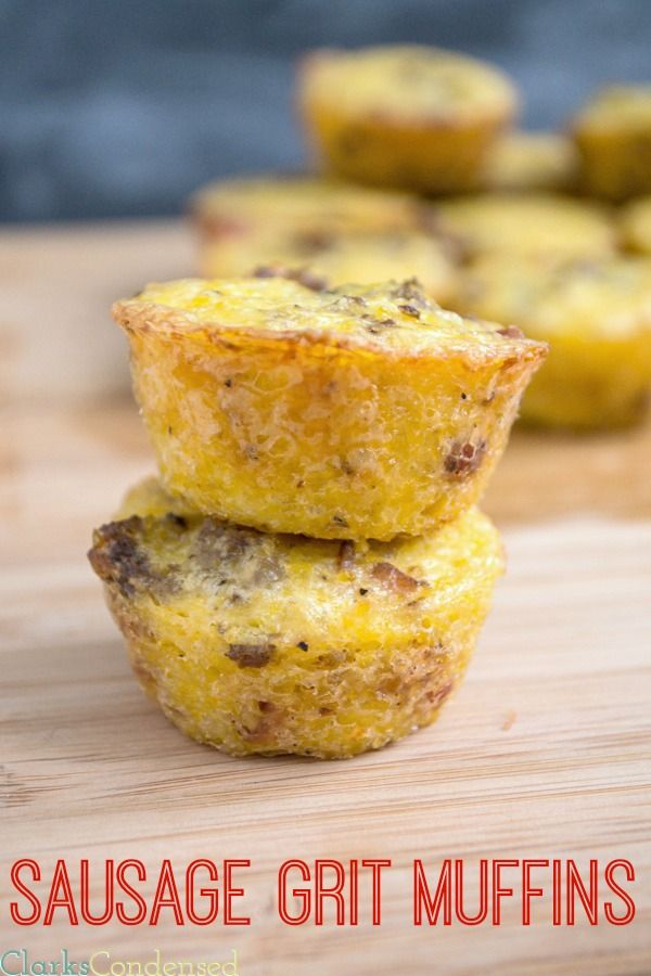 Sausage and Bacon Grits Muffins -- filled with bacon, sausage, egg, and, of course, grits by Clarks Condensed