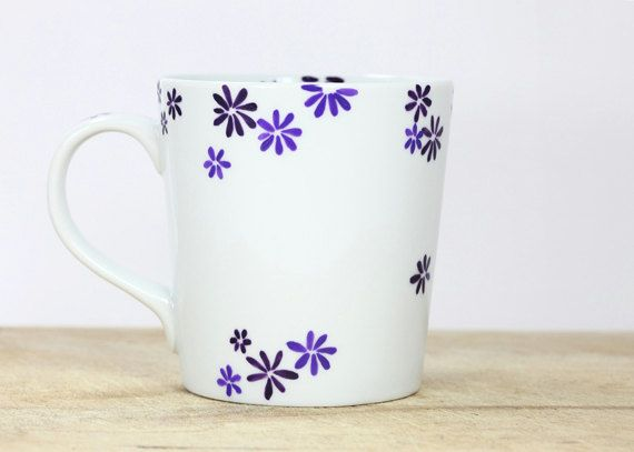 Hand Painted Ceramic Mug Tea Cup With purple by SylwiaGlassArt