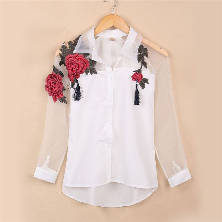 Gender: Women Decoration: Embroidery Style: Fashion Sleeve Length: Full Pattern Type: Floral Collar: Turn-down Collar Fabric Type: Broadcloth Material: Cotton,Polyester Clothing Length: Regular Sleeve Style: Regular Color Style: Natural Color