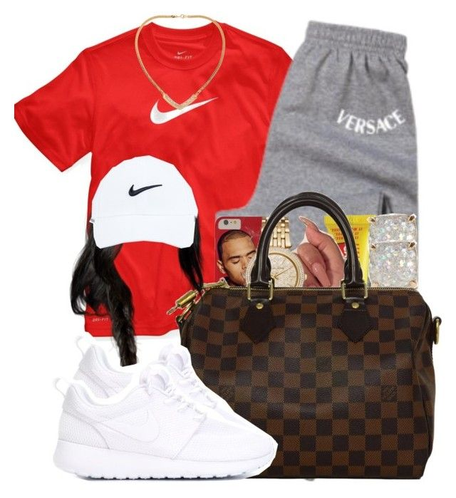 """""""962"""" by tuhlayjuh ❤ liked on Polyvore featuring NIKE, Versace, Carmex, Michael Kors, Kate Spade, Louis Vuitton and Susan Caplan Vintage"""