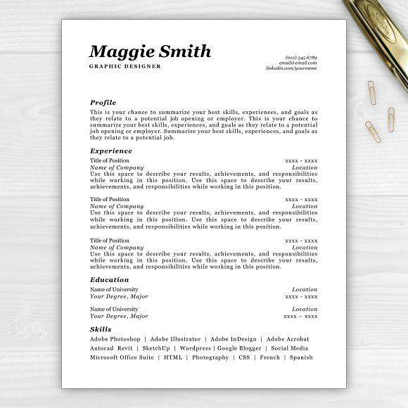 Resume Templates  Design  Resume/CV Maggie CreativeWork247 Fonts