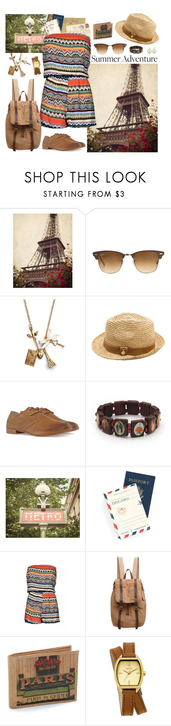 """Summer Adventure Paris"" by nellylein ❤ liked on Polyvore featuring Ray-Ban, Seychelles, Melissa Odabash, Frye, AllSaints, Disaster Designs, AX Paris, Organic by John Patrick, Oasis and Miso"