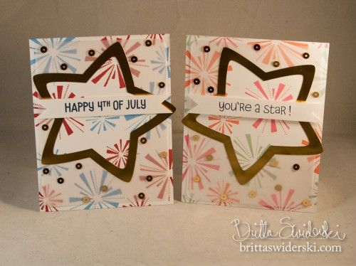 """Stars and Fireworks - Two ways to use the """"Happy 4th"""" stamp set from Lawn Fawn with some fun die cutting techniques. Video tutorial! {by Britta Swiderski}"""