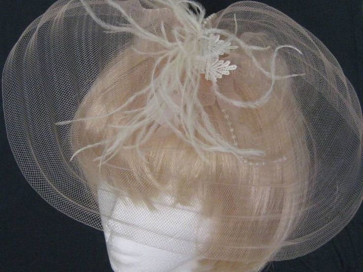 Bridal handmade vintage Lace and pale peach crinoline Fascinator head piece comb