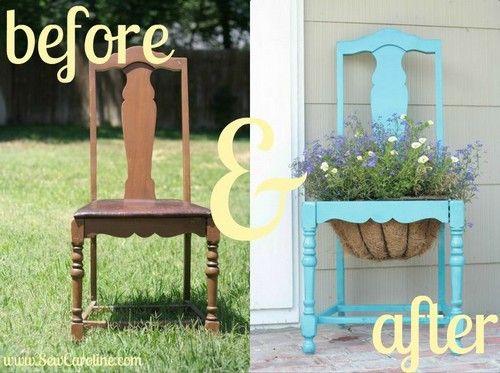 Reciclar silla como macetero para jardin