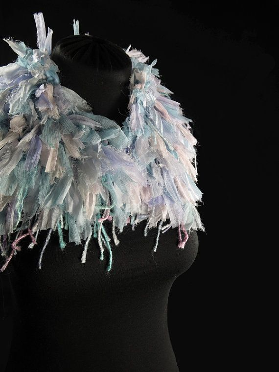Designer's knitted choker scarf, pure wool, frayed silk ribbons, bamboo cords, light blue and pastel tones, hand-made by kalani