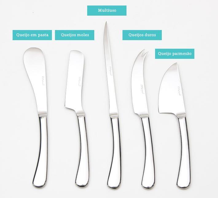 Sabia que existem facas específicas para queijos? E na maioria das vezes nem sabemos qual usar na hora de cortar cada tipo de queijo. Mas, não é