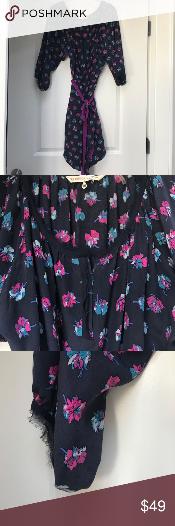 Rebecca Taylor flower patterned dress w tie belt Navy blue with floral pattern. can be worn with or without tie belt. 3/4 sleeves. Size 10 Rebecca Taylor Dresses Long Sleeve