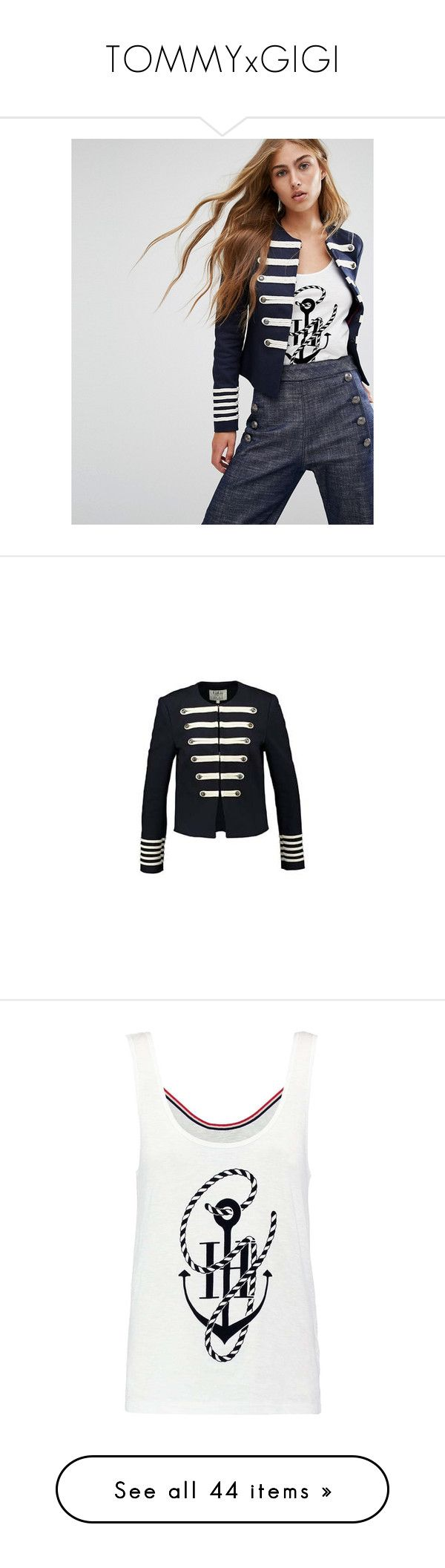 """""""TOMMYxGIGI"""" by polyandrea ❤ liked on Polyvore featuring tommyxgigi, outerwear, jackets, navy, crew jackets, military jacket, cotton field jacket, army jackets, button jacket and tops"""