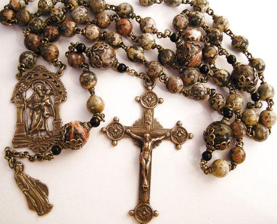 Holy Family, Jesus, Mary & Joseph Handmade Rosary in AAA Leopardskin, Catholic Rosary Five 5 Decades Antique Bronze Replicas