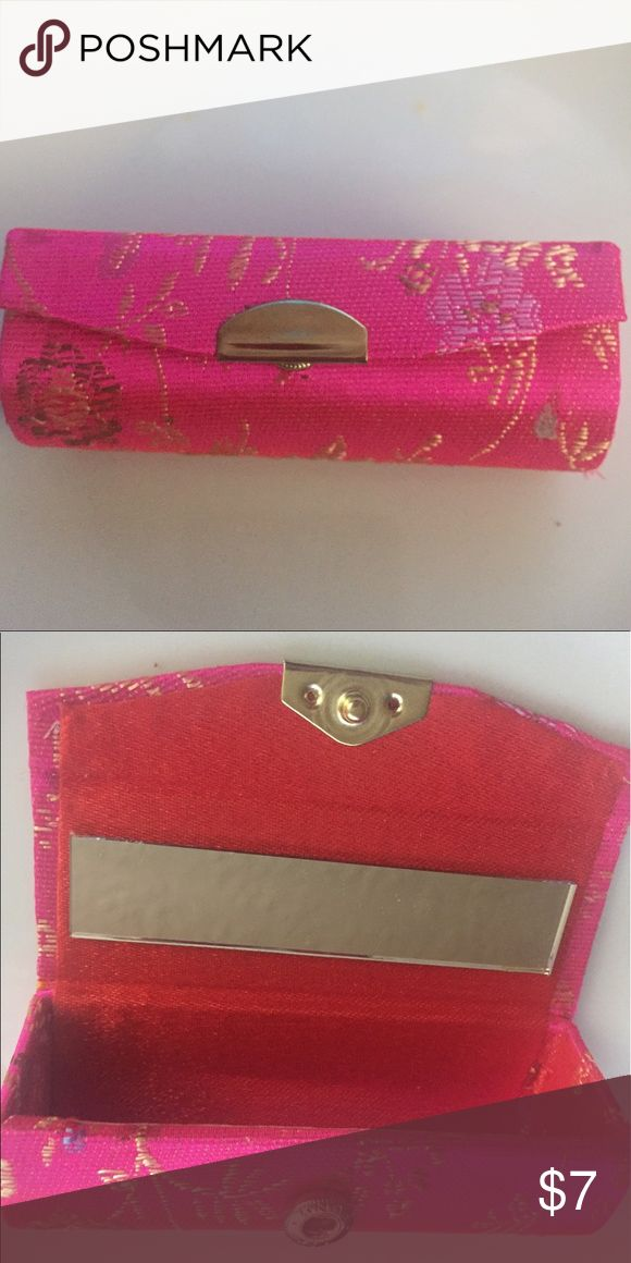 "☀️ Brocade Lipstick Case NWT lovely hot pink brocade.  Holds basic round or square lipstick tube. 3.5"" long x 1.5"" wide.  Mirror attached. Great item to keep lipstick in tact and from staining interior of purse.  Non smoking home. Perfect item to bundle. Makeup Lipstick"