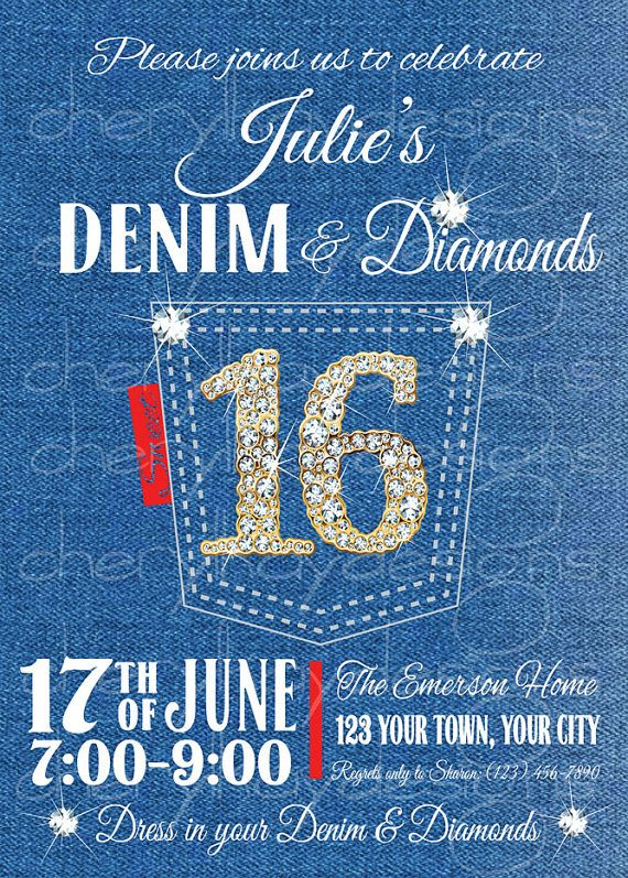 denim  u0026 diamonds sweet 16 birthday invitation by