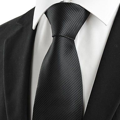 Mens Fashion Classic Black Striped Necktie