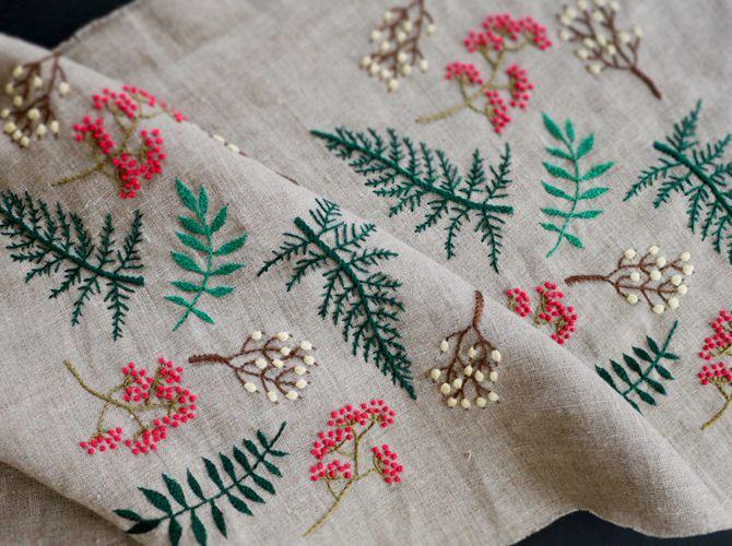 Yumiko Higuchi summer leaf embroidery linen2013.jpg